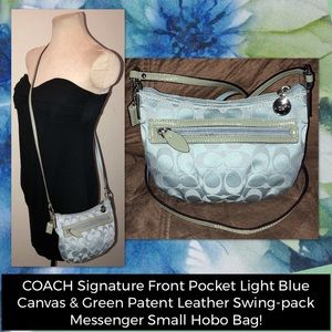 COACH Signature Front Pocket Messenger Hobo Bag!